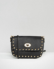 Liquorish Studded Scalloped Clutch Bag With Optional Cross Body Strap