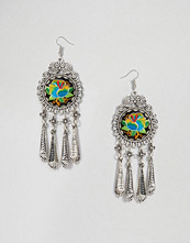 Reclaimed Vintage Round Embroidered Drop Earrings