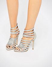 Faith Silver Caged Heeled Sandals