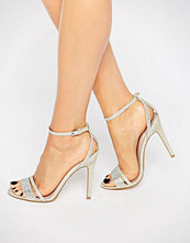 Faith Silver Barely There Heeled Sandals