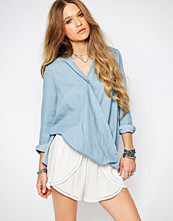Glamorous Wrap Front Top In Chambray
