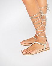 ALDO Peplow Gold Ghillie Tie Leather Flat Sandal