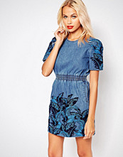 House of Holland Denim Lace Overlay Dress