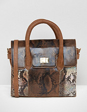 Urbancode Mini Tote Bag With Optional Shoulder Strap In Multi Faux Snakeskin