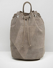 Pieces Drawstring Suede Backpack