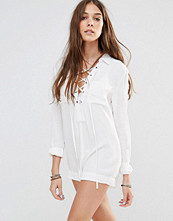Honey Punch Tie Up Front Playsuit With Front Pockets