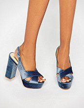 Daisy Street Blue Crushed Velvet Platform Heeled Sandals