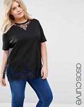 ASOS Curve Lace Mix Longline T-Shirt