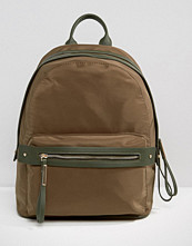 Pieces Nylon Minimal Structured Backpack in Khaki
