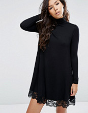 ASOS Swing Dress with Lace Hem and Polo Neck
