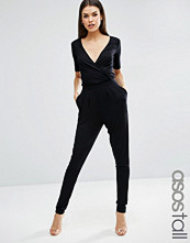 Asos Tall Wrap Front Jersey Jumpsuit With Short Sleeve