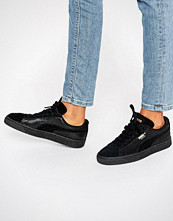 Puma Classic Suede Basket Trainers In All Black Metallic