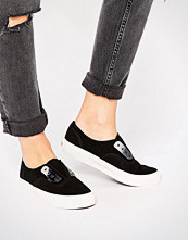 Vans Black Authentic Slip On Trainers With Metal Detail