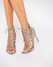 Public Desire Pearl Tie Up Grey Heeled Sandals