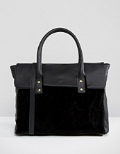 Pieces Foldover Tote Bag With Contrast Velvet