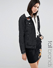 Glamorous Tall Denim Jacket With Tiger Embroidery And Borg Collar Co Ord