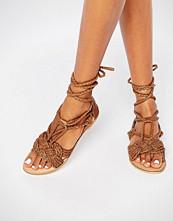 Missguided Leather Tie Up Plait Sandal