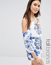 Missguided Tall Cold Shoulder Floral Playsuit