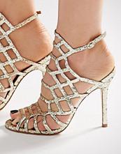 Steve Madden Slithur Gold Glitter Caged Heeled Sandals