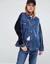 Monki Denim Oversized Colour Block Denim Jacket