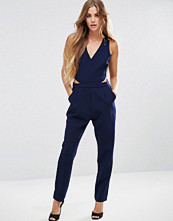 Adelyn Rae Cut Out Side Jumpsuit In Navy
