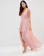 Adelyn Rae Gathered V Neck Maxi Dress