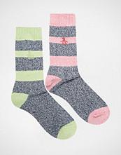 Penguin 2 Pack Boot Socks in Navy Twisted Stripe