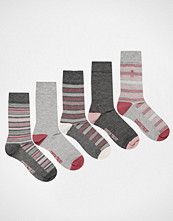 Green Treat 5 Pack Bamboo Socks in Grey Stripe