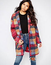 Native Youth Check Oversized Cocoon Coat
