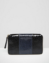 Urbancode Colour Block Leather Purse With Faux Snake Panel