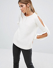 Fashion Union Cold Shoulder Knitted Jumper In Rib