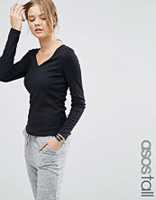 Asos Tall Fitted V Neck Long Sleeve T-Shirt In Slub