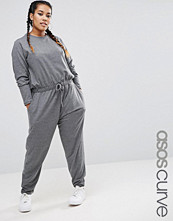 ASOS Curve Long Sleeve Jumpsuit in Sweat