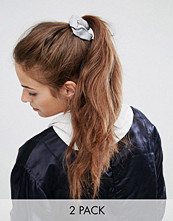 ASOS Basics Pack of 2 Grey and Nude Jersey Hair Scrunchies