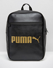 Puma Leather Look Backpack With Gold Logo