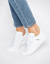 Adidas Originals All White Leather Gazelle Trainers
