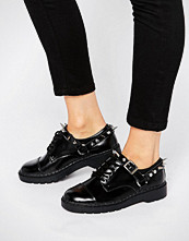T.U.K T.U.K. Argyll Spike Harness Lace Up Chunky Leather Flat Shoes