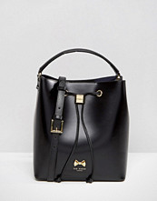Ted Baker Leather Bucket Bag With Pom Detail