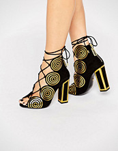 Kat Maconie Vera Gold Spiral Leather Ghillie Heeled Sandals