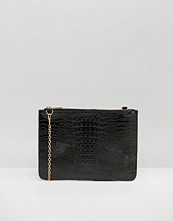 Missguided Croc Effect Clutch Bag