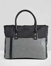 Pieces Foldover Tote Bag With Contrast Grey