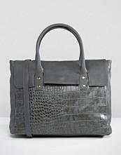 Pieces Foldover Tote Bag In Grey Croc