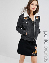 Glamorous Petite Denim Jacket With Tiger Embroidery And Borg Collar