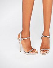 Public Desire Sparra Strappy Silver Heeled Sandals