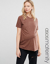 ASOS Maternity T-Shirt with Asymmetric Raw Hem Detail