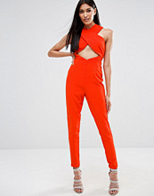 Missguided Crepe Cross Front Jumpsuit