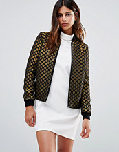 Helene Berman Zip Front Bomber Jacket in Black and Gold Spots