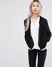 Helene Berman Zip Front Bomber Jacket in Black Lace