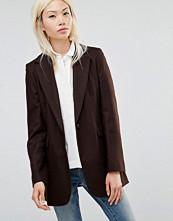 Helene Berman Longline Blazer in Chocolate Brown