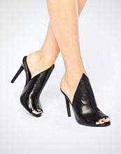 Public Desire Corina Black Heeled Mules